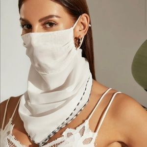 White Trim Protection Face Mask Scarf